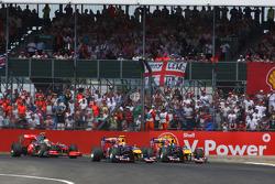 Mark Webber, Red Bull Racing and Sebastian Vettel, Red Bull Racing at the start of the race