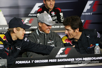 FIA press conference: Sebastian Vettel, Red Bull Racing, Michael Schumacher, Mercedes GP, Mark Webber, Red Bull Racing
