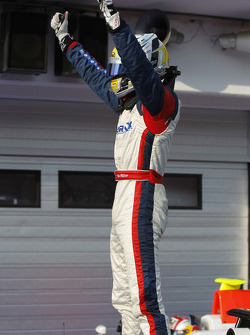 Nico Muller celebrates victory in parc ferme