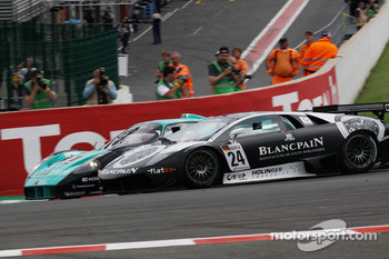 #2 Vitaphone Racing Team Maserati MC12: Miguel Ramos, Enrique Bernoldi, #24 Reiter Lamborghini Murcielago R: Peter Kox, Christopher Haase
