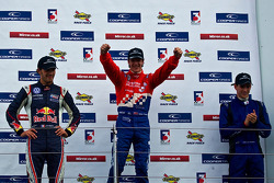 Podium from left: Jean-Eric Vergne, James Calado and Lucas Foresti