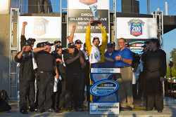Victory lane: race winner Boris Said celebrates