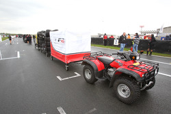 A tractor with a delivery of Avon tyres on the grid