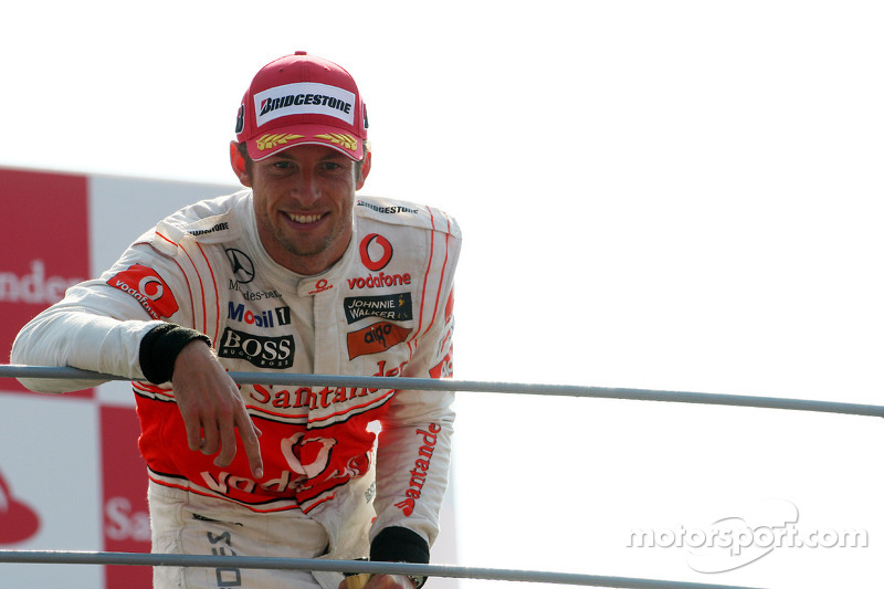 Podium: second place Jenson Button, McLaren Mercedes
