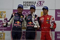 Rookie of the day podium from left: Jean-Eric Vergne, Daniel Ricciardo and Daniel Zampieri
