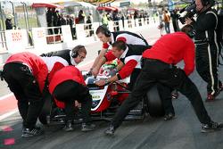 Pit stop for Alexander Sims, ART Grand Prix Dallara F308 Mercedes