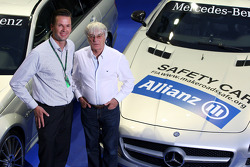 Dr Christian Deuringer, Vice president of Allianz SE, Bernie Ecclestone and the Safety car