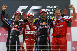 Podium: race winner Fernando Alonso, Scuderia Ferrari, Sebastian Vettel, Red Bull Racing, Mark Webber, Red Bull Racing