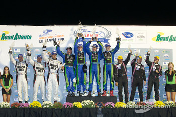 LMP2 podium: class winners David Brabham, Simon Pagenaud and Marino Franchitti, second place Klaus Graf, Sascha Maassen and Lucas Luhr, third place Jacques Nicolet, Frederic Da Rocha and Patrice Lafargue