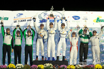 GTC class podium: class winners Henri Richard, Duncan Ende and Andy Lally, second place Timothy Pappas, Jeroen Bleekemolen and Sebastiaan Bleekemolen, third place John Potter, Ryan Eversley and Andrew Davis