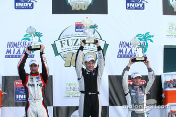 Podium, Brandon Wagner winner, James Hinchcliffe second place, Wade Cunningham third place