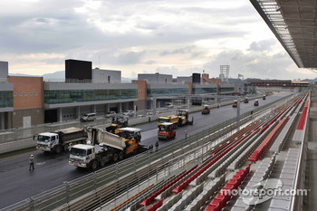 A view of the construction work at the Korea International Circuit