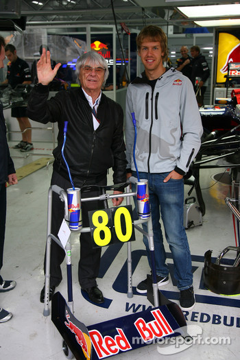 Bernie Ecclestone turns 80 next week and for a special birthday present the Red Bull team have given him a Zimmer frame with Sebastian Vettel, Red Bull Racing