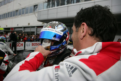 Race winner Timo Scheider, Audi Sport Team Abt Audi A4 DTM gets some beer from Hans-Jurgen Abt, Teamchef Abt-Audi