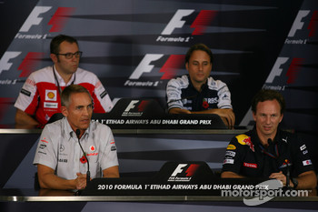Stefano Domenicali Ferrari General Director with Martin Whitmarsh, McLaren, Chief Executive Officer and Christian Horner, Red Bull Racing, Sporting Director