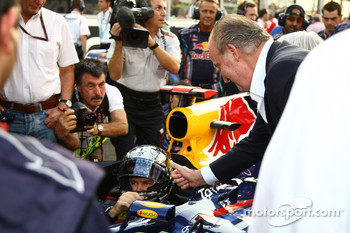 King Carlos of Spain with Sebastian Vettel, Red Bull Racing