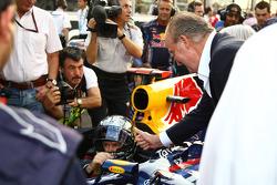 King Carlos of Spain with Sebastian Vettel, Red Bull Racing
