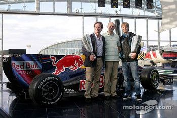 Team principal Christian Horner, chief technical officer Adrian Newey and Sebastian Vettel