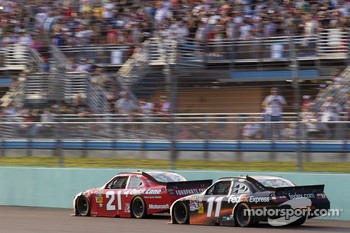 Bill Elliott, Wood Brothers Racing Ford and Denny Hamlin, Joe Gibbs Racing Toyota