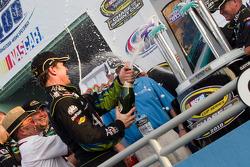 Victory lane: race winner Carl Edwards, Roush Fenway Racing Ford celebrates
