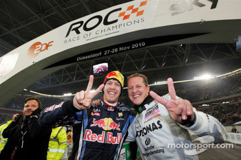Nations Cup winners Michael Schumacher and Sebastian Vettel for Team Germany