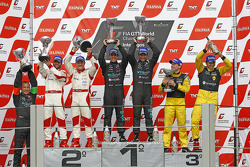 Podium: race winners Alexandre Negrao and Enrique Bernoldi, second place Darren Turner and Tomas Enge, third place Marc Hennerici and Alexandros Margaritis