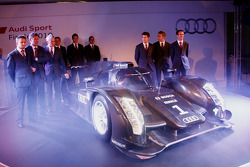 The 2011 Audi R18 TDI with the Audi work drivers: Tom Kristensen, Rinaldo Capello, Allan McNish, André Lotterer, Marcel Fässler, Benoit Tréluyer, Mike Rockenfeller, Timo Bernhard and Romain Dumas