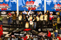 Victory lane: race winner Bobby Gerhart celebrates