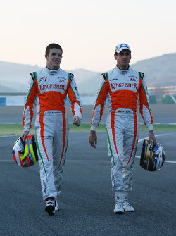 Paul di Resta, Test Driver, Force India F1 with Adrian Sutil, Force India F1
