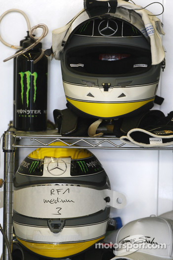 The helmet of Nico Rosberg, Mercedes GP Petronas F1