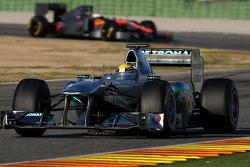 Adjustable rear wing example, left image rear wing is open and right image rear wing is closed, Nico Rosberg, Mercedes GP F1 Team