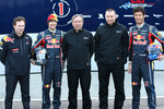 Christian Horner Red Bull Racing Team Principal, Sebastian Vettel Red Bull Racing, Jean-Francois Caubet Renault Head of Communications, Bob Bell and Mark Webber Red Bull Racing
