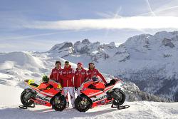 Valentino Rossi, Ducati, Nicky Hayden, Ducati, Vittoriano Guareschi, test rider Ducati at the Ducati Desmosedici GP11 presentation