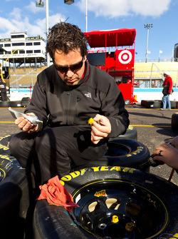 Team member prepares wheels