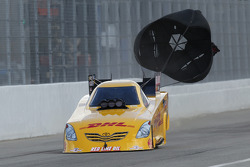 Jeff Arend deploys the  parachutes aboard his DHL Toyota Camry Funny Car