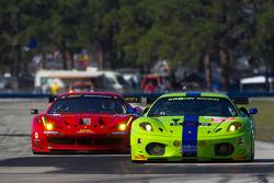 #57 Krohn Racing Ferrari F430: Tracy Krohn, Nic Jonsson, Michele Rugolo and #062 Risi Competizione Ferrari F458 Italia: Jaime Melo, Toni Vilander, Mika Salo