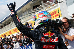 Daniel Ricciardo, Red Bull Racing celebrates his second position in parc ferme