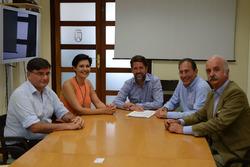 Walter Sciacca with Carlos Alonso and Cristo Pérez del Cabildo de Tenerife