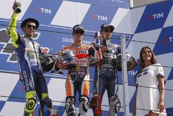 Podium: second place Valentino Rossi, Yamaha Factory Racing, race winner Dani Pedrosa, Repsol Honda Team, third place Jorge Lorenzo, Yamaha Factory Racing