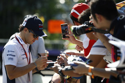 Felipe Massa, Williams Martini Racing, signs autographs for fans