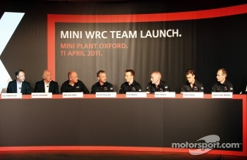 Ian Robertson, Member of the Board of Management of the BMW AG for Sales and Marketing, David Richards, Chairman and Chief Executive, Prodrive Group, Dirk Hollweg, Head of MINI Motorsport, David Wilcock, Technical Director of the MINI WRC Team, Kris Meeke