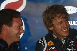 Christian Horner, Red Bull Racing, Sporting Director and Sebastian Vettel, Red Bull Racing