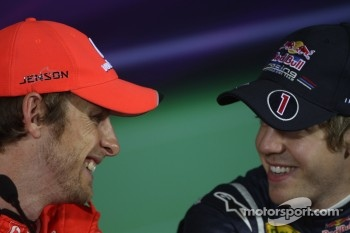 Pole winner Sebastian Vettel, Red Bull Racing, second place Jenson Button, McLaren Mercedes