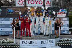 GT2 podium: class winners Dirk Müller and Joey Hand, second place Oliver Gavin and Jan Magnussen, third place Jaime Melo and Toni Vilander