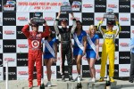 Race winner Mike Conway, second place Dario Franchitti, third place Ryan Briscoe, and the top three finishers of the Miss Long Beach pageant