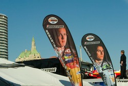 Banners for Newman/Haas drivers Sebatian Bordais and Bruno Junqueira