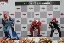 Podium: champagne for Sébastien Bourdais, Paul Tracy and Nelson Philippe