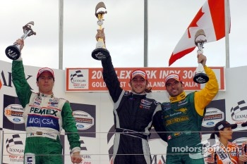 Podium: race winner Nelson Philippe with Mario Dominguez and Alex Tagliani