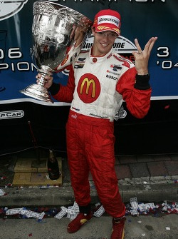 Champ Car World Series 2006 champion Sébastien Bourdais celebrates with the Vanderbilt Cup