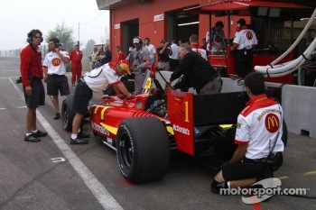 On a foggy Saturday morning, Sébastien Bourdais' pits crew